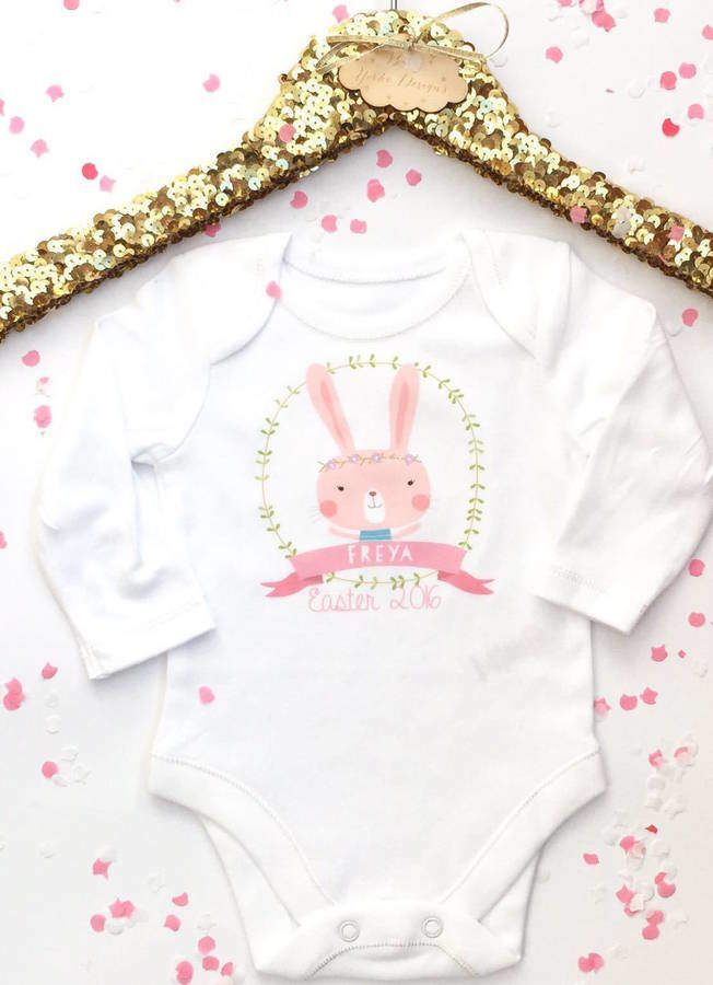 361791681 Baby Yorke Designs Easter Bunny 2017 Personalised Baby Grow | Easter ...