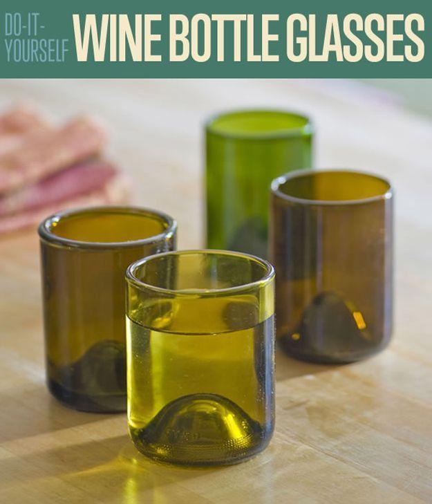DIY Wine Bottle Glasses   How to Cut Wine Bottles by DIY Ready at http://diyready.com/diy-wine-bottle-glasses-how-to-cut-glass/