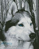Mini Siberian Husky in the Woods cross stitch chart - Artecy Cross Stitch