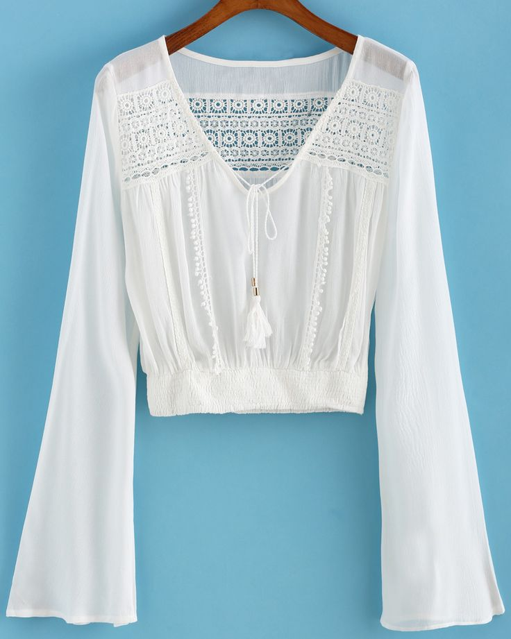 Shop Bell Sleeve Crochet Hollow White Top online. SheIn offers Bell Sleeve Crochet Hollow White Top & more to fit your fashionable needs.