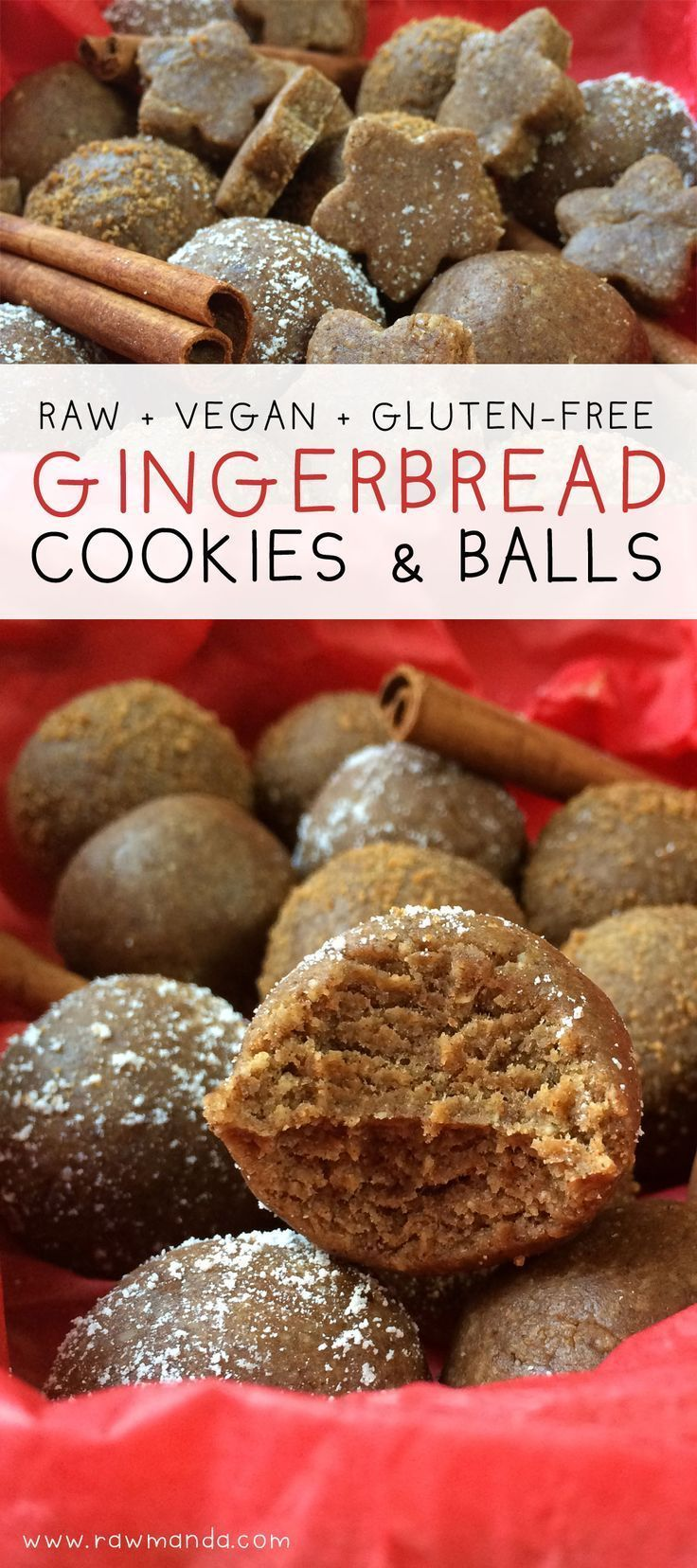 Raw Gingerbread Cookie Recipe (Vegan,Gluten-Free) - Perfect delicious treat for staying healthy during the holidays. @Raw Manda