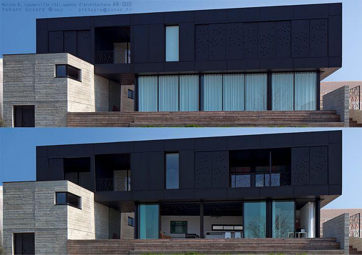 La maison noire entre acier et b ton carnet d for Facade maison originale