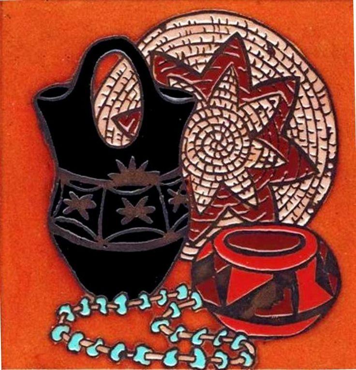 Southwestern Wedding Vase Woven Basket Turquoise Beads Ceramic Tile Trivet