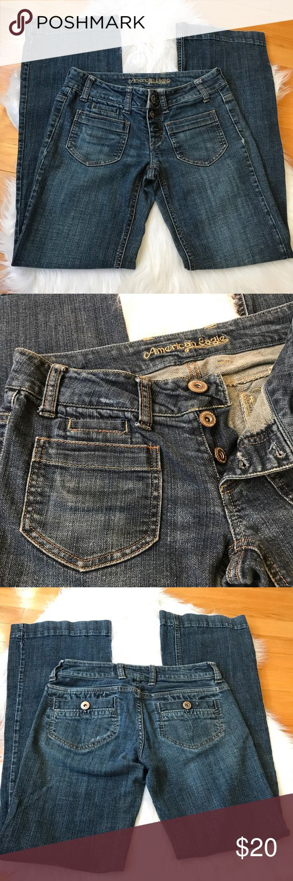 | American Eagle | Boot Cut Jeans Size 0 regular. Great condition American eagle boot cut jeans with cute pockets on the front. No stains or rips. Waist 14' legs 38' inseam 30' boot flare 9' American Eagle Outfitters Jeans Boot Cut