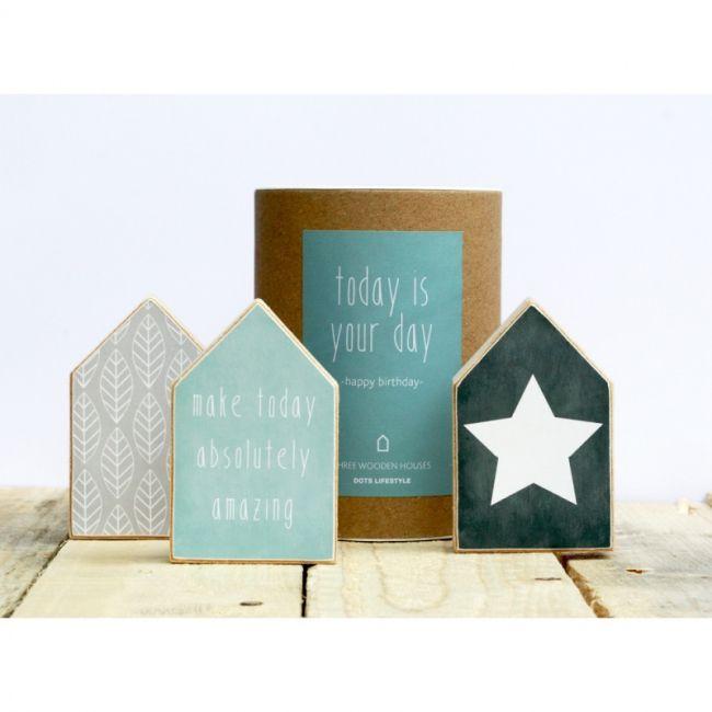 houtprint gift box cadeau houten huisjes -