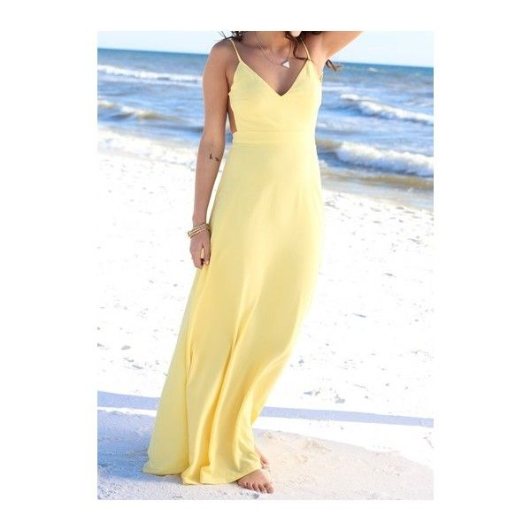 Yellow High Waist Backless Sleeveless Maxi Dress ($24) ❤ liked on Polyvore featuring dresses, yellow, print maxi dress, backless dress, cotton maxi dress, beige dress and sleeve maxi dress