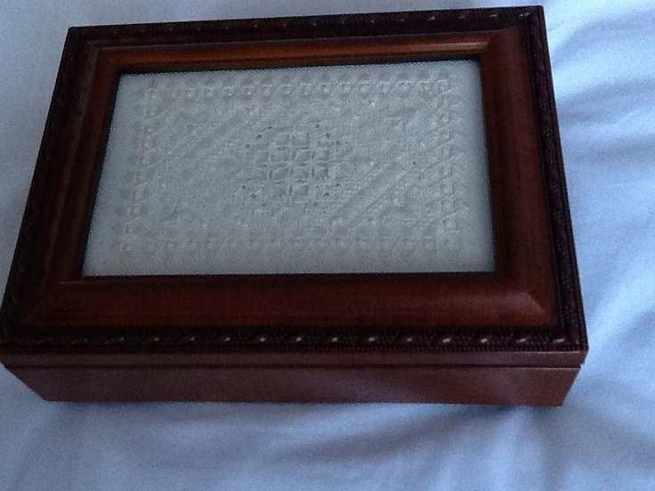 Hardanger stitched lid insert,1st project of the Nordic Needle's Stitching Accessories Club