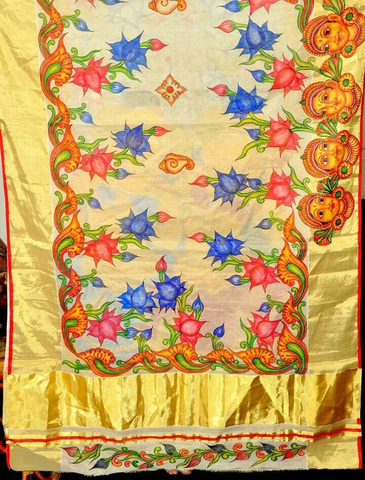 59 best hand painted sarees images on pinterest fabric for Aithihya mural painting fabrics