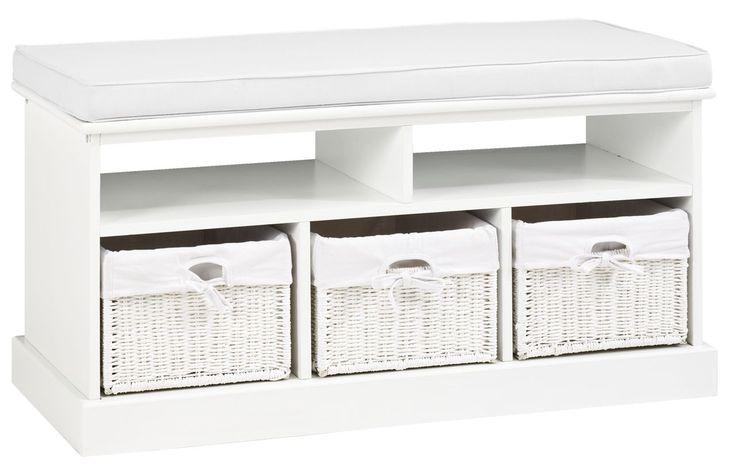 Ławka MAUI 3 szuflady poduszka biała w JYSK.