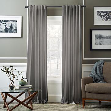 Velvet Pole Pocket Curtain - Dove Gray #westelm