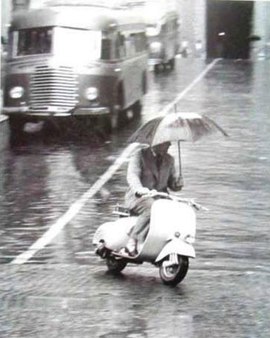 On a Vespa you are protected against rain and dirt…
