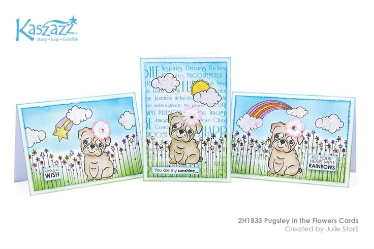 2H1833 Pugsley in the Flowers Cards