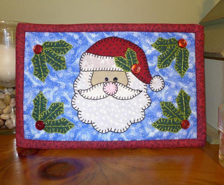 Santa Mug Rug pattern http://www.craftsy.com/pattern/quilting/home-decor/santa-mug-rug---christmas-mini-quilt/58054