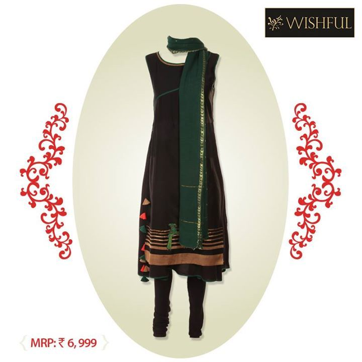 Thought of carrying off an unusual #combination? Try this #interesting combo of green and black and stand out amidst a crowd.  Own this here : http://bit.ly/skdwishful