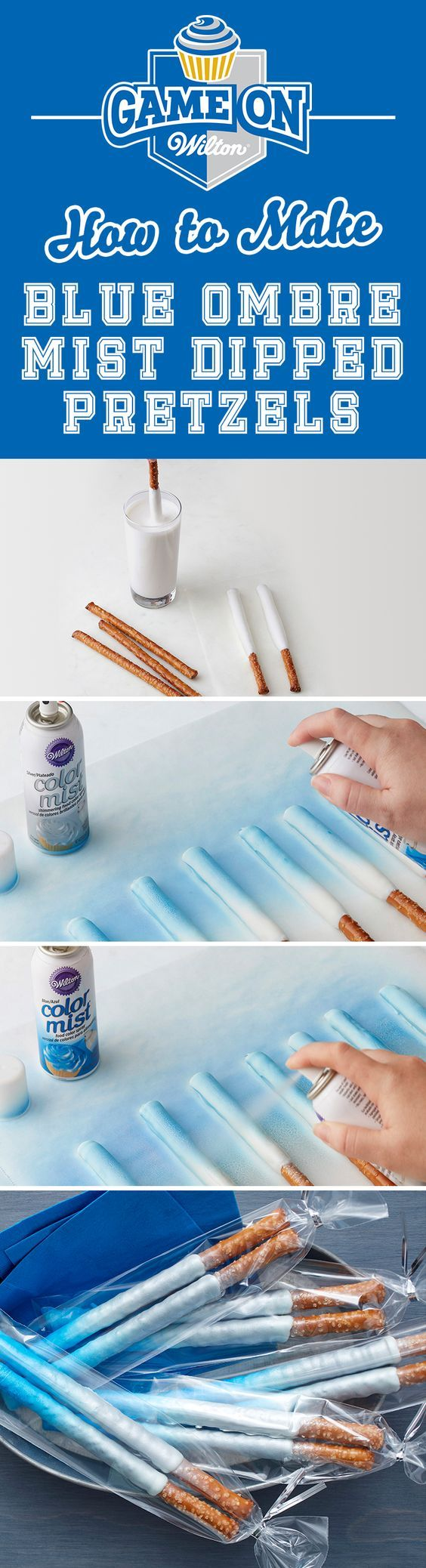 How to Make Blue Ombre Mist Dipped Pretzels - Fun for school spirit nights and…