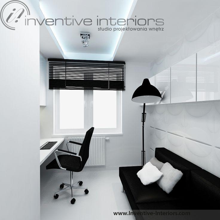Projekt gabientu Inventive Interiors - minimalistyczny biało czarny gabinet