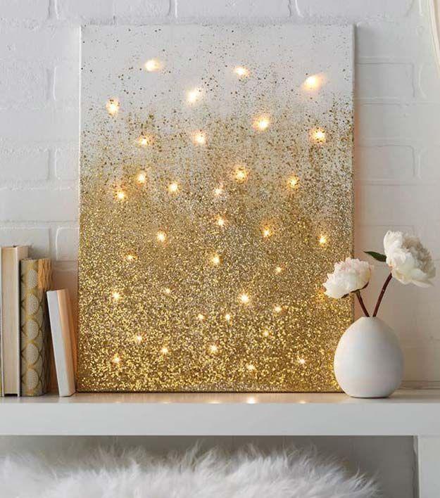 Gold DIY Projekte und Kunsthandwerk – Glitzer und Lichter Leinwand – Easy Room Decor, Wall