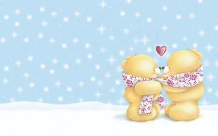 I love you! - blue, white, card, heart, red, sweet, cute, teddy bear, valentine, snow, winter, spring, couple, scarf