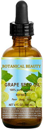 GRAPE SEED Oil 100 Pure  Natural  Undiluted Cold Pressed Carrier Oil for Skin Hair Massage and Nail Care 4 Fl oz120 ml -- More info could be found at the image url.