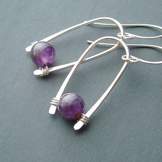 Silver Inverted Hoops Sterling Silver Hoop Earrings amethyst Earrings Amethyst Birthstone Jewelry