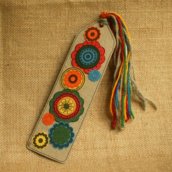 Bookmark eco friendly handmade paper funky flowers earthy colours. $12.50, via Etsy.