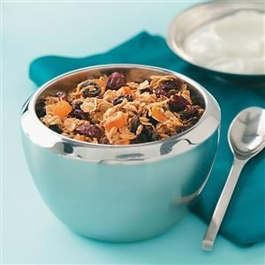 Super Low-Fat Granola Cereal Recipe -Serve this delicious mix for breakfast with milk, or sprinkle it over yogurt. You can add chopped walnuts or pecans, but it will increase the calorie count. —Kelly Kirby, Westville, Nova Scotia