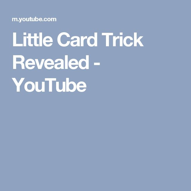 Little Card Trick Revealed - YouTube