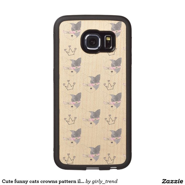 Cute funny cats crowns pattern illustration wood phone case