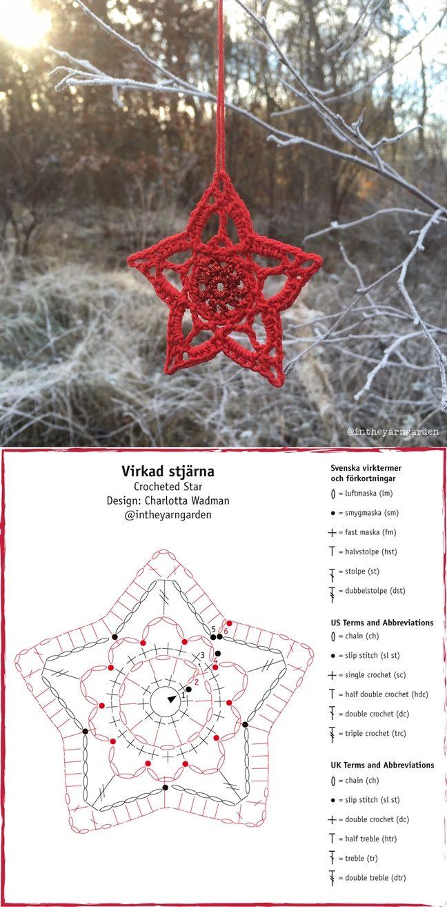 Crochet star chart pattern