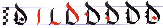 gothic writing: capital gothic letters A-Z: letter D