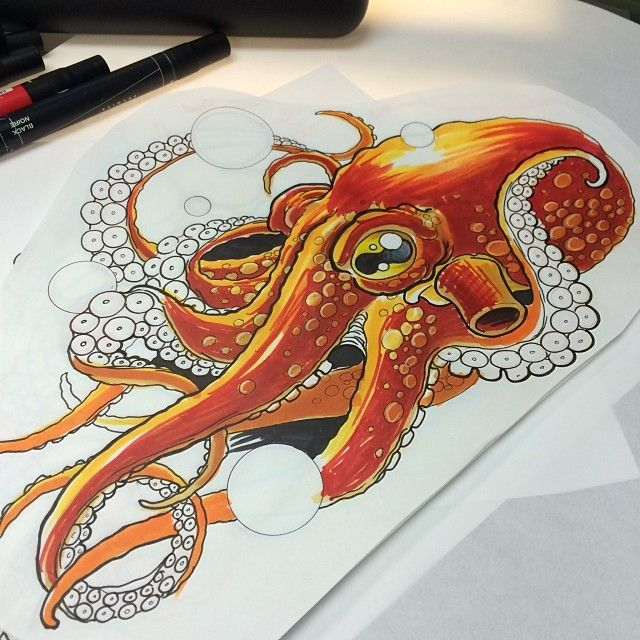 Underwater Orange Octopus And Flower Tattoos