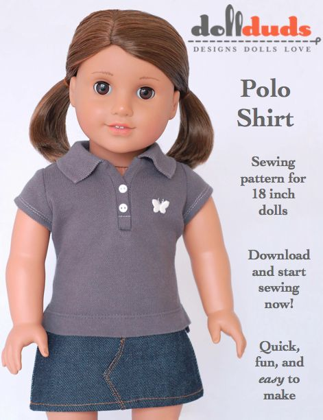 Polo Shirt Doll Clothes Pattern. Just sign up for the free Liberty Jane Newsletter to get this free bonus!Clothing Pattern, Doll Clothes Patterns, Girls Dolls, Dolls Clothing, Liberty Jane, American Girl Dolls, Girl Doll Clothes, Polo Shirts, American Girls