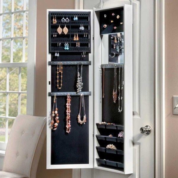 Mirror Jewelry Armoire Door On Wall Mount Cabinet Hanging Box Storage Organizer in Jewelry & Watches, Jewelry Boxes & Organizers, Jewelry Holders & Organizers | eBay