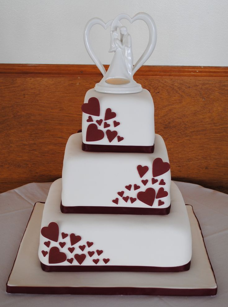 Square Wedding Cake With Hearts  on Cake Central