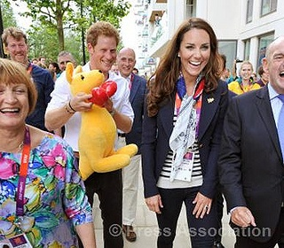Prince Harry and The Duchess of Cambridge during a visit to the Team GB accommodation in the Athletes Village at the Olympic Park in Stratford, London, 31 July 2012.