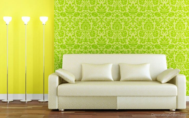 Wallpaper wiyh yellow burst and interior in pastels with golden touch on it makes it the corner to look out for in your house.
