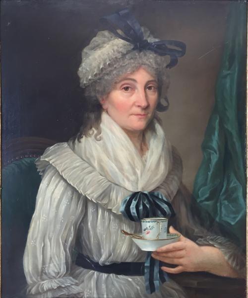 Portrait de dame à la tasse, late 18th C, French school