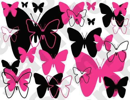 hot pink and black abstract butterfly wall border decals