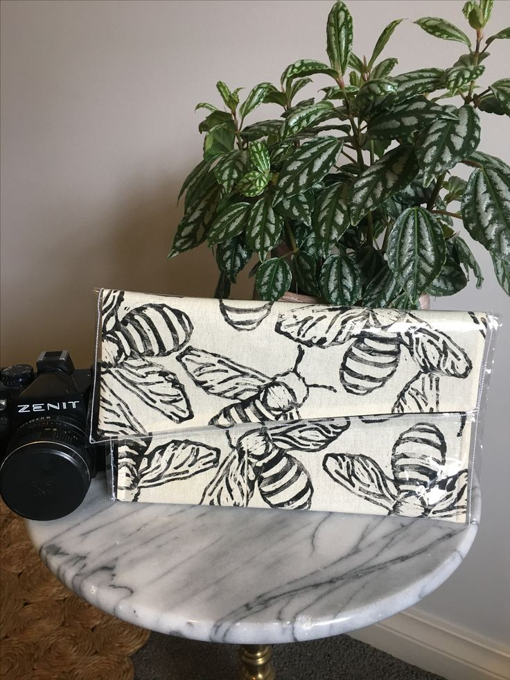 Handmade Chlo-Made Linoprinted Clutch! Check out Etsy for your one-of-a-kind clutch that'll add a pop of colour and fun to any outfit!