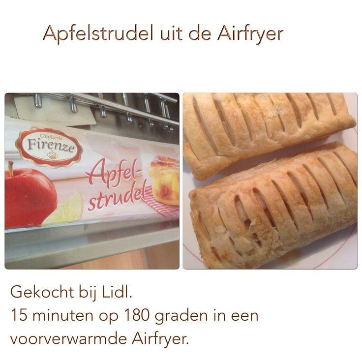 Apfelstrudel uit de Airfryer. 15 minuten op 180 graden. AK