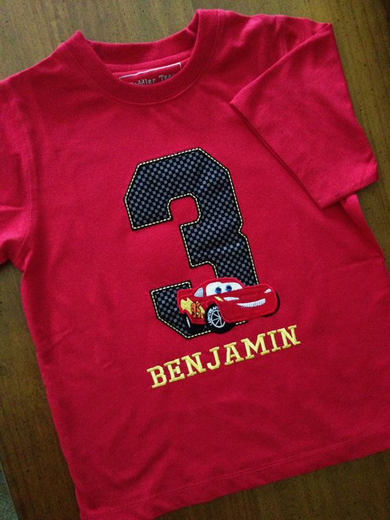 Red Lightning McQueen Cars Disney Birthday Number Shirt /Onesy with Embroidery Name (Personalizing Included) Black Race track Number Fabric