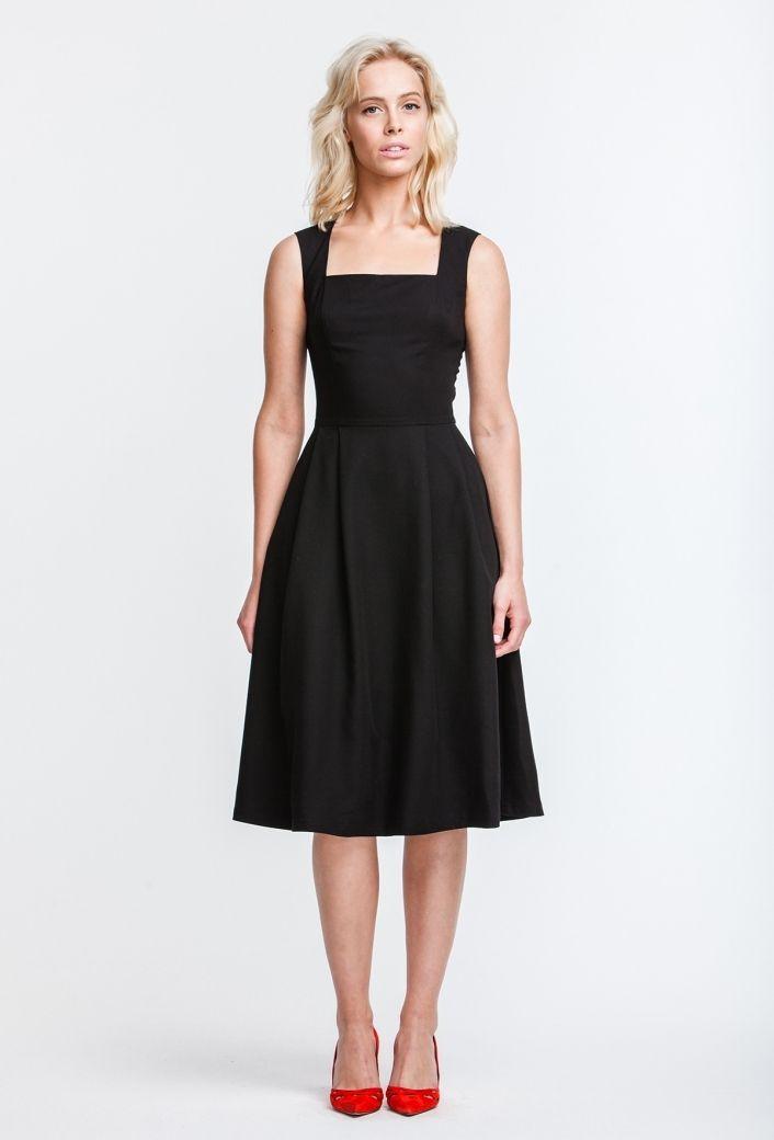 2697 Платье черное, квадратный вырез, юбка клеш, ниже колена купить в Украине, цена в каталоге интернет-магазина брендовой одежды Musthave