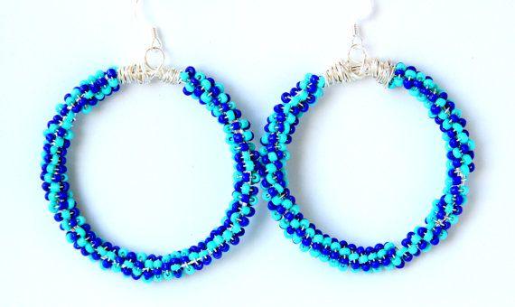 Blue Hoop Earrings Spring/Summer Earrings #Bridesmaid Earrings Peacock Green and Blue Earrings #Handmade #Jewelry on ShopJuelerie