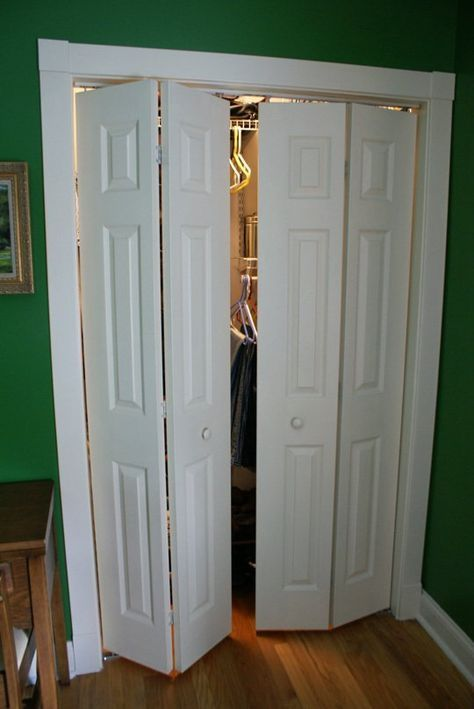 I've never been a fan of the bi-fold doors on our bedroom closet. My biggest complaint is that when the doors are open, as you see in the second photo, portions of the closet are almost inaccessible. And with two vain men sharing one small closet, we need all the space we can get! Rather than install new doors I decided to convert these bi-fold doors into swing-out doors.