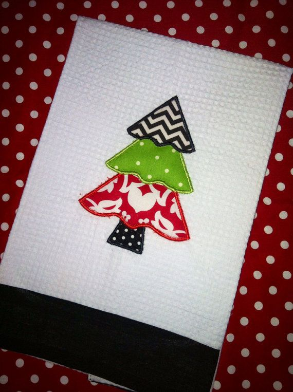 3 tier christmas tree applique kitchen towel by SewPreciousDesignz, $10.00