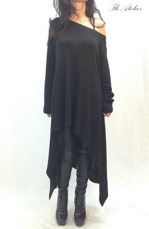 Black Asymmetrical Sweater/ Top Sweater Dress/Knitwear Dress/Long Women Knitted Sweater Coat/Loose Plus Size Sweater Cotton Blouse/F1011