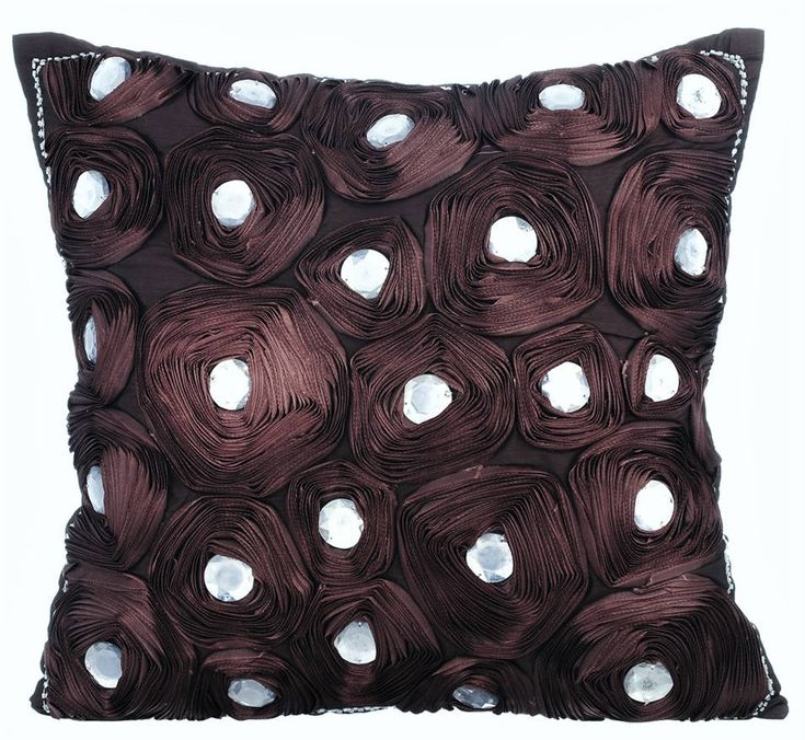 "Handmade Brown Decorative Pillows Cover, 16""x16"" Silk Throw Pillows Cover, Square Satin Ribbon Embroidered Pillows Cover - Wine Brown Flower by TheHomeCentric on Etsy"