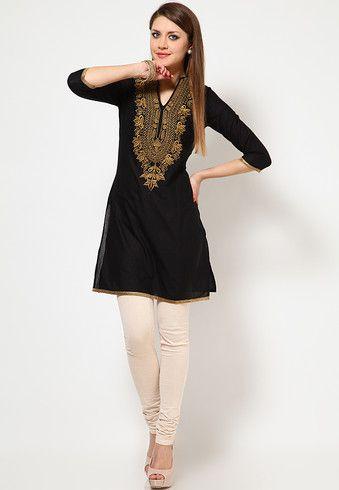 Golden Embroidered Black Kurta