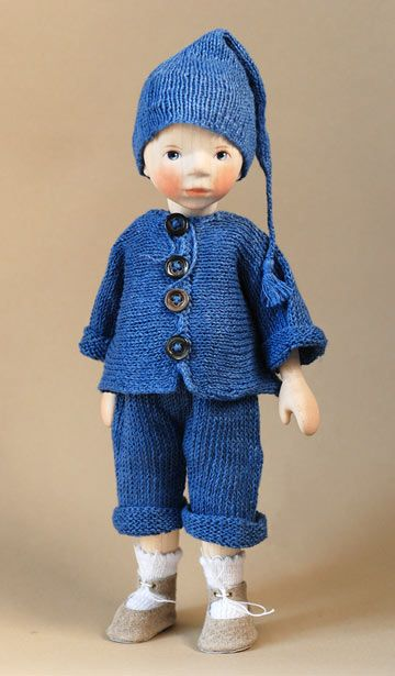 "Boy In Blue Knit, 10"" wooden doll, by Elisabeth Pongratz, Germany, 2013."