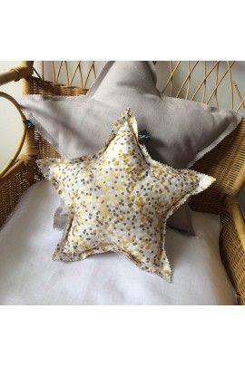 Coussin étoile - Lin et Coton gris - Pas si Sages 37E
